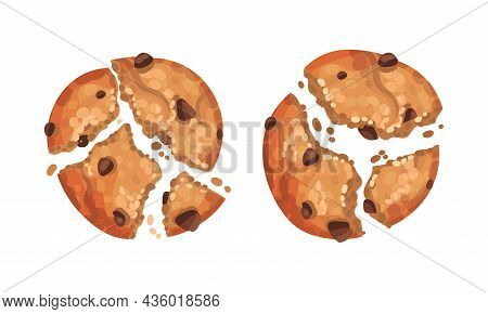 Broken Crispy Biscuits Set. Cookies With Chocolate Chips Vector Illustration
