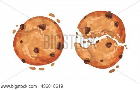 Crispy Cookies With Chocolate Chips Vector Illustration On White Background