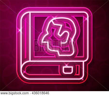 Glowing Neon Line Law Book Icon Isolated On Red Background. Legal Judge Book. Judgment Concept. Vect