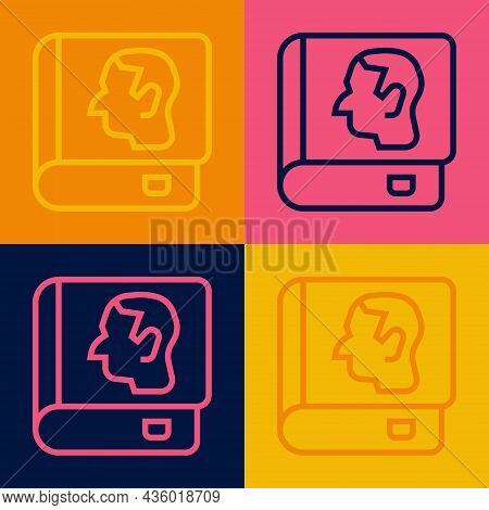 Pop Art Line Law Book Icon Isolated On Color Background. Legal Judge Book. Judgment Concept. Vector