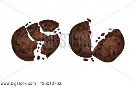 Broken Crispy Chocolate Biscuits With Crumbs Set Vector Illustration On White Background