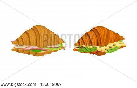 Crunchy Croissants With Various Ingredients Set. French Croissant With Ham, Cheese, Sausage, Lettuce