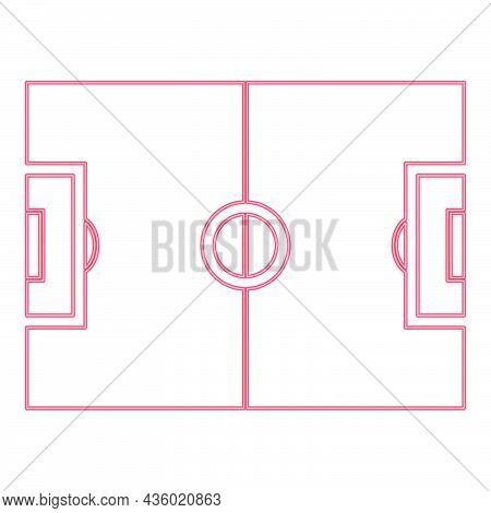 Neon Soccer Field Red Color Vector Illustration Flat Style Light Image