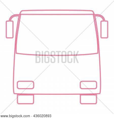Neon Bus Red Color Vector Illustration Flat Style Light Image