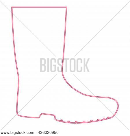 Neon Rubber Boots Red Color Vector Illustration Flat Style Light Image