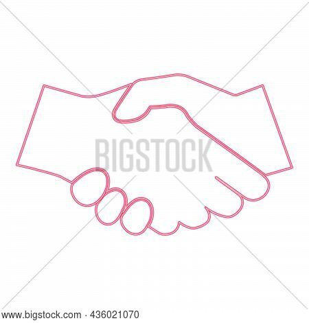 Neon Business Handshake Red Color Vector Illustration Flat Style Light Image