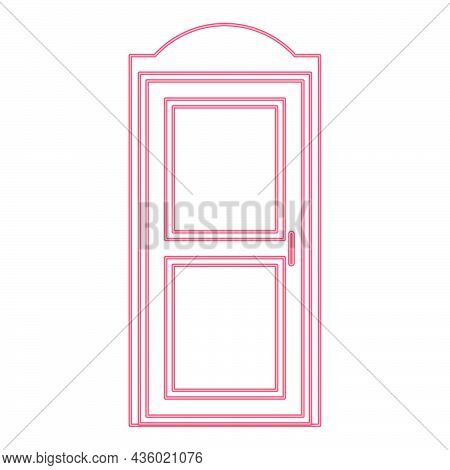 Neon Bio Toilet Red Color Vector Illustration Flat Style Light Image