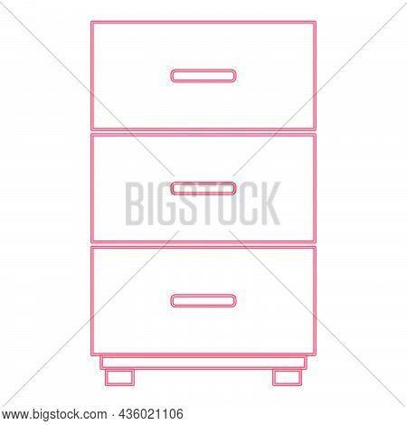 Neon Cabinet Red Color Vector Illustration Flat Style Light Image