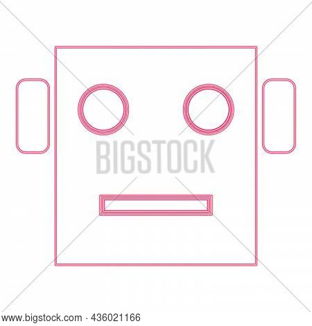 Neon Robot Head Red Color Vector Illustration Flat Style Light Image