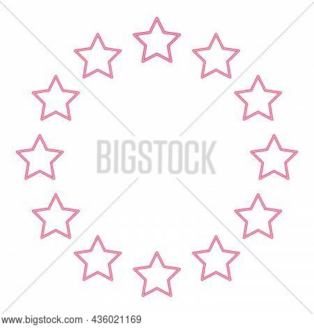 Neon Stars In Circle Red Color Vector Illustration Flat Style Light Image