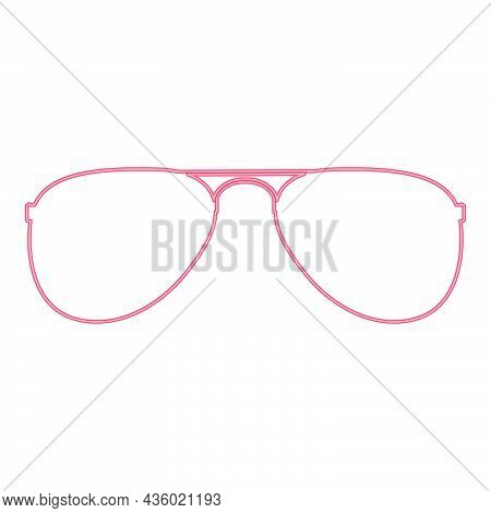 Neon Glasses Red Color Vector Illustration Flat Style Light Image