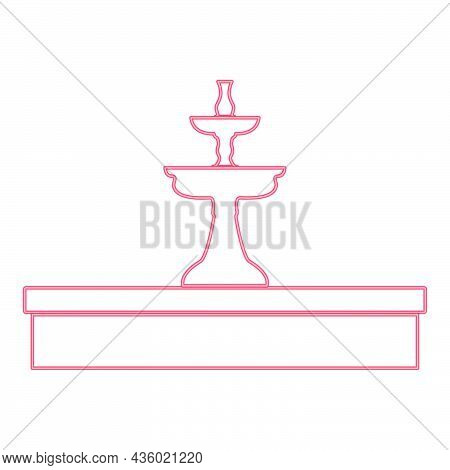 Neon Fountain Red Color Vector Illustration Flat Style Light Image