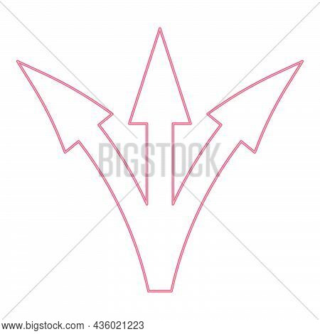 Neon Three Way Direction Arrow Red Color Vector Illustration Flat Style Light Image