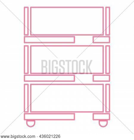 Neon Floor Rack For Paper Red Color Vector Illustration Flat Style Light Image