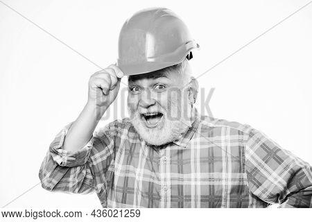 Repairing Or Renovating. Home Improvement. Man Bearded Engineer Wear Helmet. Repair Concept. Enginee