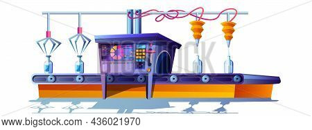 Cartoon Conveyor Belt With Dairy Products. Process Of Automatic Pouring Milk In Glass Bottles. Movin