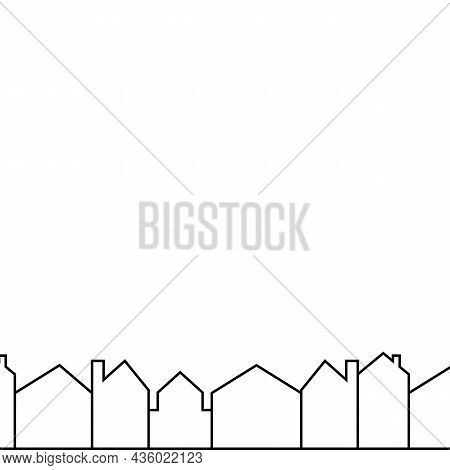 Cityscape, Houses Line Border, Vector Icon, In A Row
