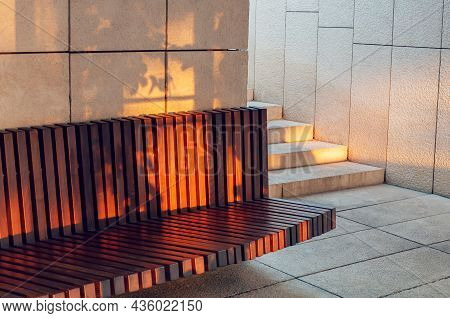 Modern Brown Wooden Bench Outdoor. City Improvement, Urban Planning, Public Spaces