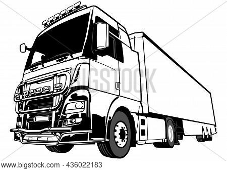 Lorry Big Rig Truck Drawing - Black Outlined Illustration Isolated On White Background, Vector