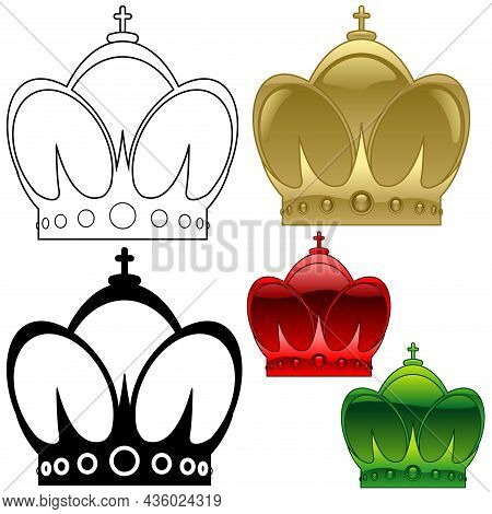 Set Of Heraldic Crowns - Colored Glossy Illustrations And Outline Illustration And Crown Silhouette