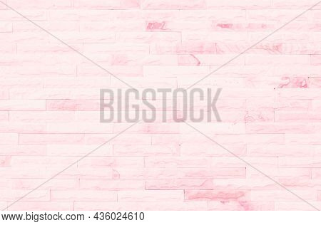 Empty Pink Brick Wall Texture Background In The Bedroom At Lovely. Brickwork Stonework Interior, Roc