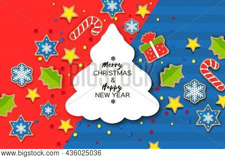 Happy New Year And Merry Christmas Greeting Card. Christmas Gingerbread Paper Cut Style. Animals. De