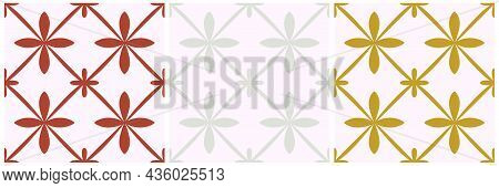 Tile Portugal Flower Seamless Pattern Set. Geometric Background. Traditional Azulejo Repeat Ornament