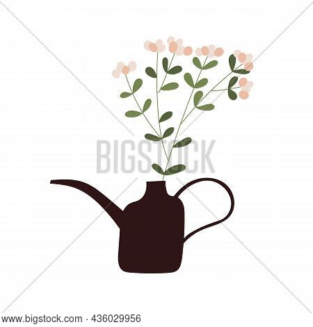 Blossomed Flower Branch In Watering Can. Spring Gentle Blooming Floral Plant In Pot. Delicate Fresh