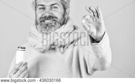 Painkillers Pills. Headache Treatment. Mature Man Taking Pills. Natural And Organic. Sick Man With V