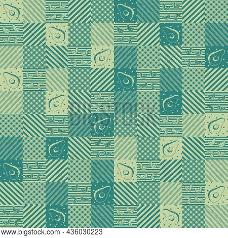Patchwork Seamless Pattern. Different Color Palettes. Avocado, Mint Leaves, Peas, Stripes, Cage, Cir