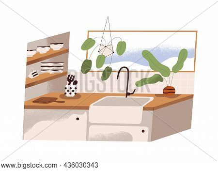 Kitchen Interior Design With Sink And Faucet, Clean Kitchenware And Utensil, Window And Plants. Mode