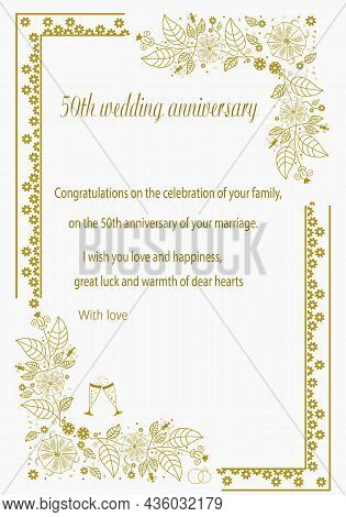 Congratulations On The Fiftieth Wedding Anniversary With Wishes. Gold Design With Wedding Rings, Gla