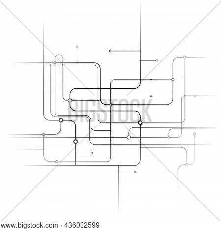 White Background With Printed Circuit With Fade Off Effect - Technical Illustration, Vector
