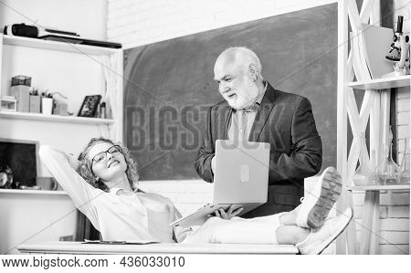 High School College University. Discussing Topic With Student Or Colleague. Man Mature School Teache