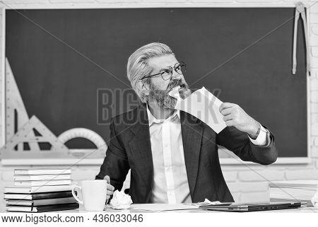 Destroy Profile Documents. Teacher Destroying Paper File. Study Hard. School Education For Everyone.