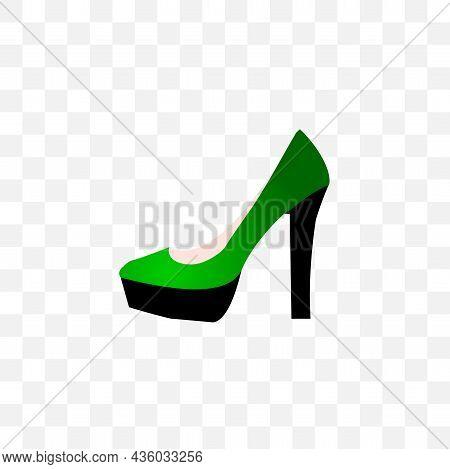 Green Womens High Heels Vector Illustration. Women Heel