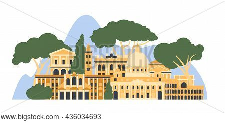 Italy, Rome. The Architectural Landscape Of The European City. Vector Illustration.