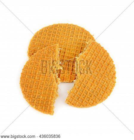 Appetizing Belgian Waffles Isolated On White Background.