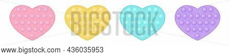 Set Of Popit Hearts In Style A Fashionable Silicon Fidget Toys. Addictive Antistress Toy In Pastel C