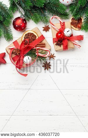 Christmas gift boxes with craft decor. Top view flat lay with space for your greetings