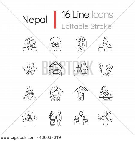 Nepal Cultural Heritage Linear Icons Set. Religious Festivals. Tourist Attractions. Mountaineering.
