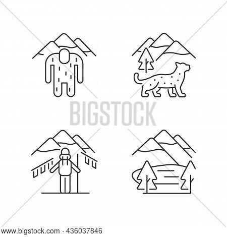 Mountaineering In Nepal Linear Icons Set. Trekking Peaks. Himalayan Folklore. Snow Leopard. Customiz
