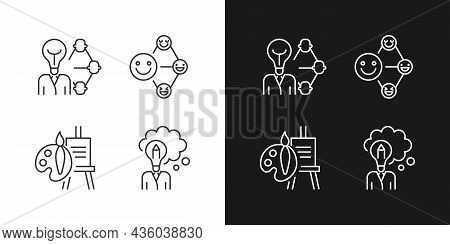 Creative And Professional Talents Linear Icons Set For Dark And Light Mode. Thin Line Contour Symbol