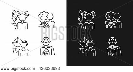 Kids Talents Linear Icons Set For Dark And Light Mode. Personal Development. Thin Line Contour Symbo
