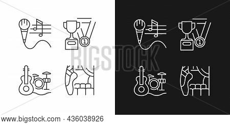 Hobby And Leisure Linear Icons Set For Dark And Light Mode. Talent Competition. Thin Line Contour Sy