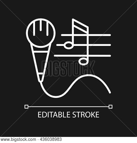 Talent For Singing White Linear Icon For Dark Theme. Vocal Lessons And Training. Performing Song. Th