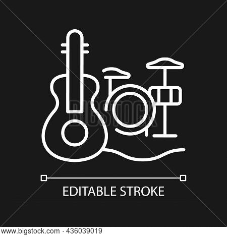 Musical Talent White Linear Icon For Dark Theme. Playing Musical Instruments. Gifted Musician. Thin