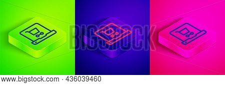 Isometric Line Shopping Cart On Screen Laptop Icon Isolated On Green, Blue And Pink Background. Conc