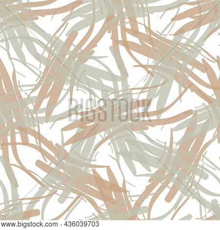 Painterly Hessian Fiber Texture Vector Seamless Pattern Background. Backdrop With Fabric Style Fragm