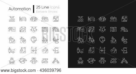 Automation Linear Icons Set For Dark And Light Mode. Advanced Manufacturing. Improve Everyday Life.